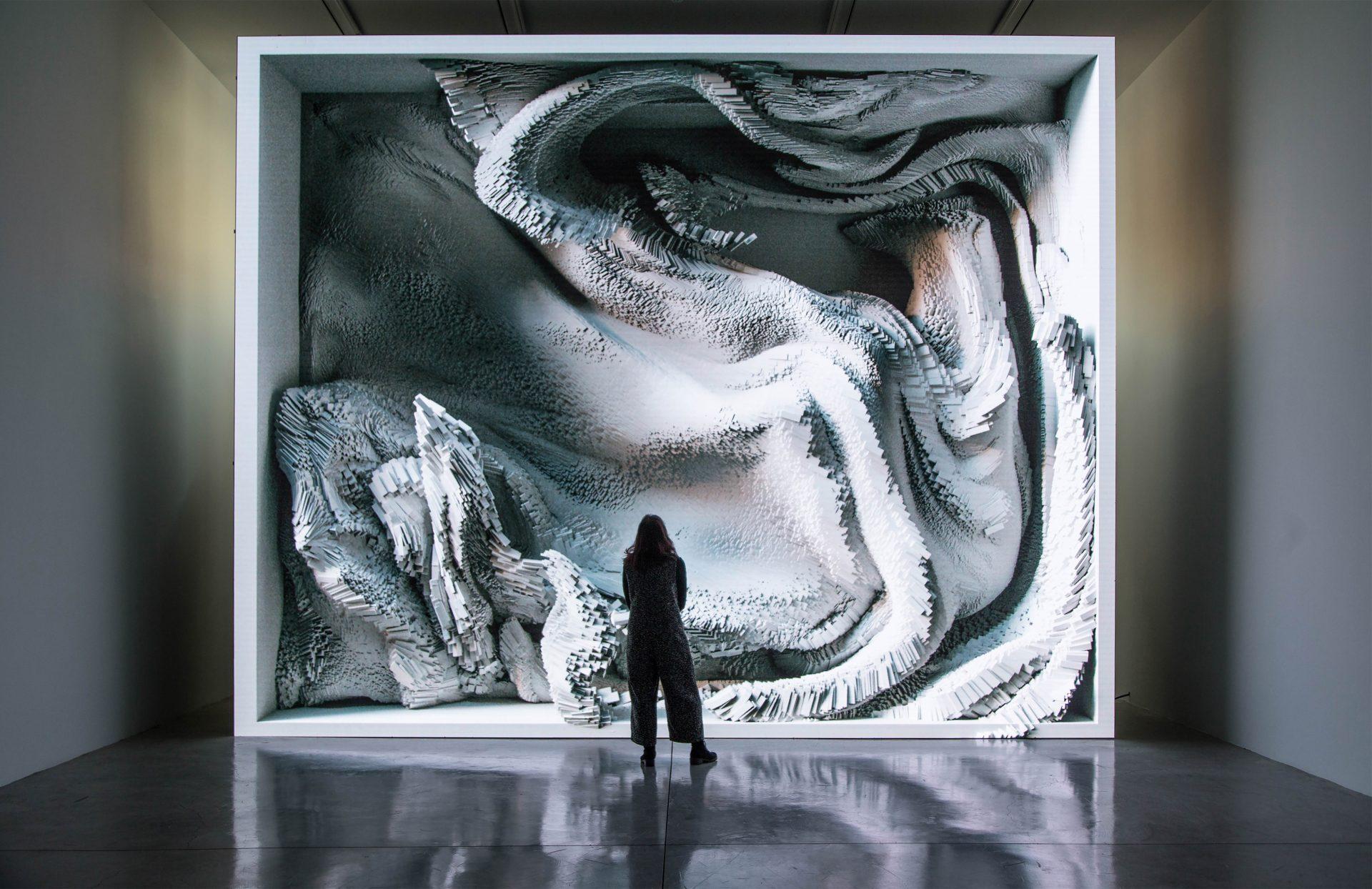 Re.memory. Refik Anadol og Sougwen Chung. Utstilling på Sørlandets Kunstmuseum 2020. Digital kunst. kunstig intelligens