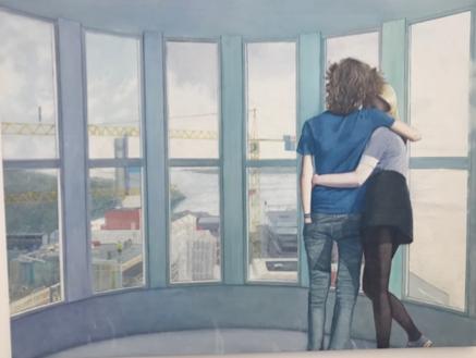 Slyngstad, Vibeke. Skagerak (2018) Slyngstad, Vibeke. Skagerak (2018) . Maleriet viser dansende maleriske lysfeltene i kunstsilo-scenen med på å skape et drømmende, uvirkelig preg til kulturbygget ( Kunstsilo ) som ennå ikke er reist.