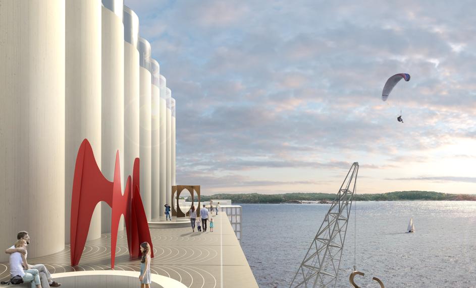 Illustrasjon av Kunstsilo på Odderøya i Kristiansand: Mestres Wåge Arquitectes og Mendoza Partida/ BAX. Sørlandets Kunstmuseum har fått disposisjonsrett over Tangen-samlingen og planlegger å flytte inn i Kunstsilo i 2021.