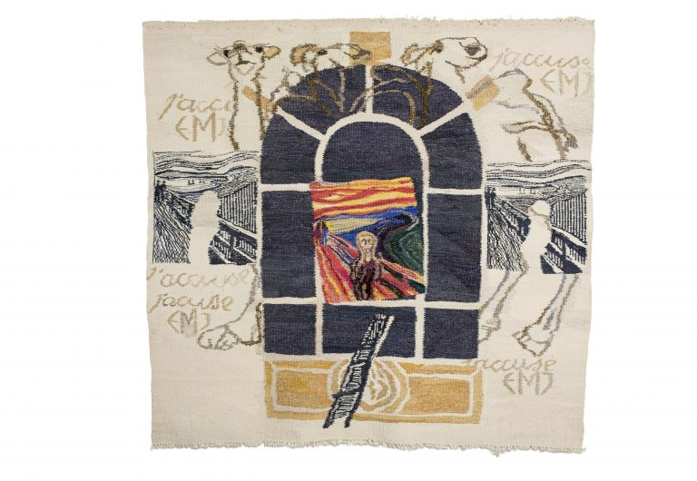 Sørlandets Kunstmuseum. Kunstsilo. Else Marie Jacobsen, Dromedarene II (Skriket) / Dromedaries II (The Scream), 1994, tapestry