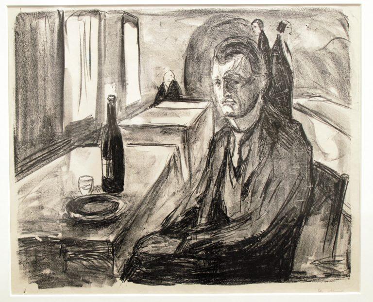 Tangen-samlingen. Sørlandets Kunstmuseum. Kunstsilo. Edvard Munch, Selvportrett i restaurant / Self-Portrait in Restaurant, undated, lithography