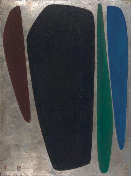 Tangen-samlingen. Kunstsilo. Sørlandets Kunstmuseum. Anna-Eva Bergman, Uten tittel / Untitled, 1955, oil and silver foil on board