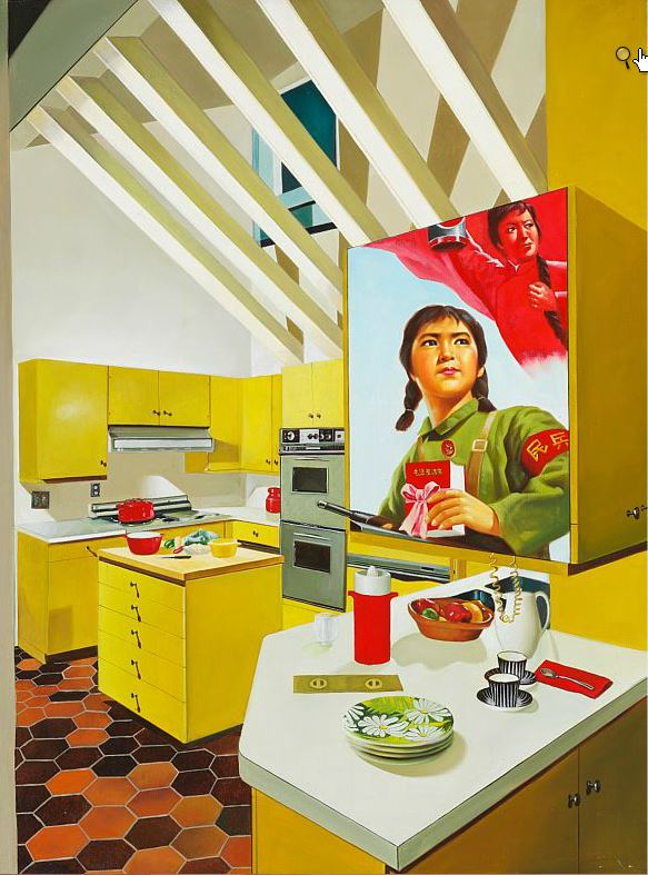 Tangen-samlingen. Kunstsilo. Sørlandets Kunstmuseum. Erró, The American Kitchen, 1979, oil on canvas