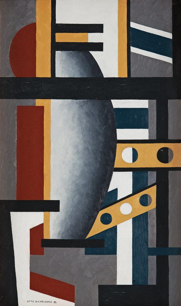 Tangen-samlingen. Sørlandets Kunstmuseum. Kunstsilo. Otto G. Carlsund, Dekorativ komposition / Decorative Composition, 1933, oil on canvas
