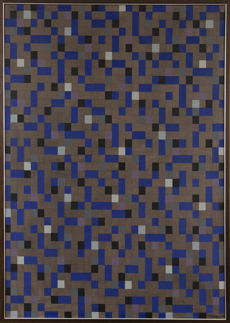 Tangen-samlingen. Kunstsilo. Sørlandets kunstmuseum. Göran Augustson, Dark Blues, 1971, oil on canvas