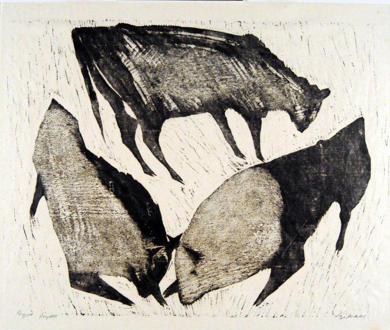 Tangen-samlingen. Sørlandets Kunstmuseum. Kunstsilo. Ludvig Eikaas, Oksekamp / Bulls Fighting, undated, woodcut