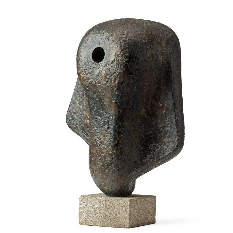 Tangen-samlingen. Sørlandets Kunstmuseum. Kunstsilo. Eric Gustav Grate, Polyfem, undated, patinated bronze on granite stand