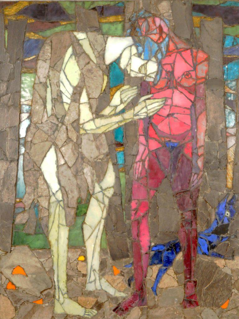 Tangen-samlingen. Sørlandets Kunstmuseum. Kunstsilo. Sigurd Winge, To mennesker (demring) / Two People (Twilight), 1946, mosaic in glass and stone
